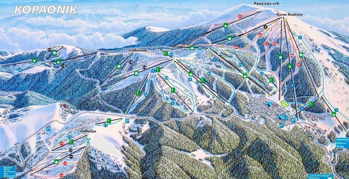 Горнолыжные туры в Сербию без визы, прямой перелёт из Минска kopaonik-map-ski